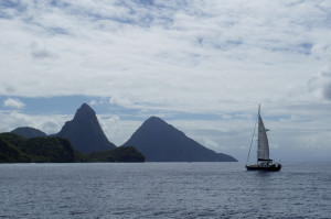 Catamaran sailing past the Pitons