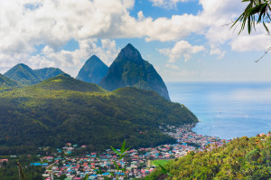 The Pitons seen behind the town of Soufrière