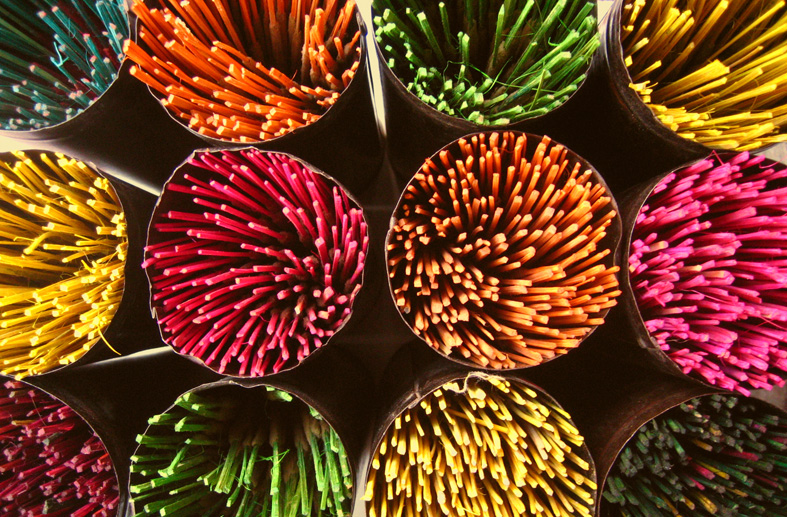 Colorful array of Indian incense sticks