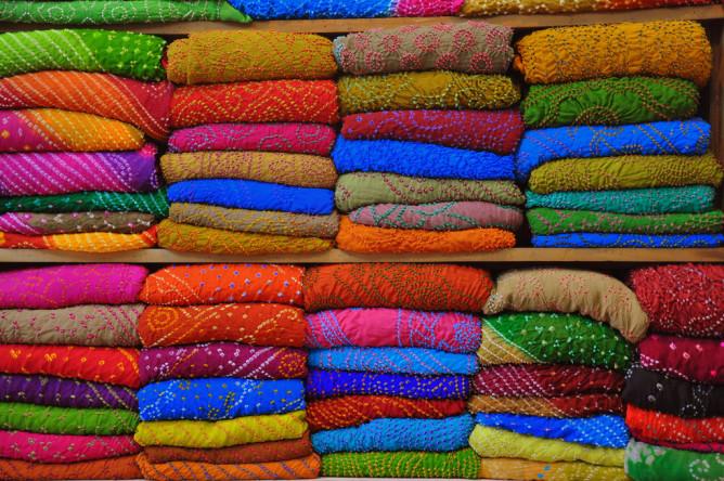 An array of sari fabric