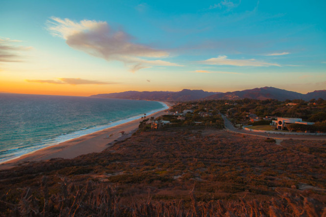 The beginning of the sunset from the top of Point Dume