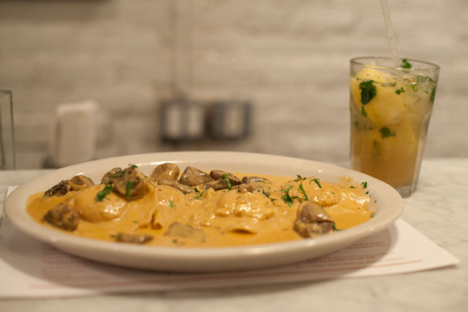 Lobster Ravioli with Mushroom Sauce at Ed's Lobster Bar