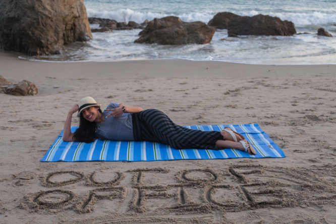 "My Out of Office message written in the sand! Read the blog post: ""Boss Detox: How to Leave Work Behind on Vacation"""