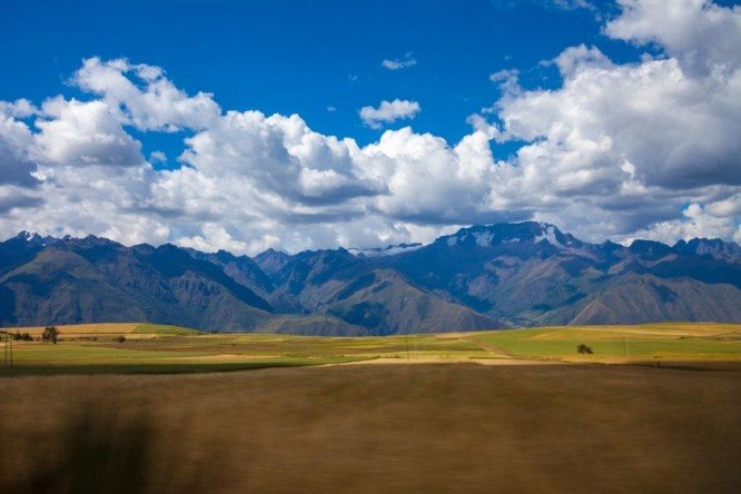 Driving through the Sacred Valley in Peru