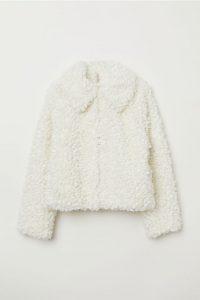 H&M white faux fur jacket